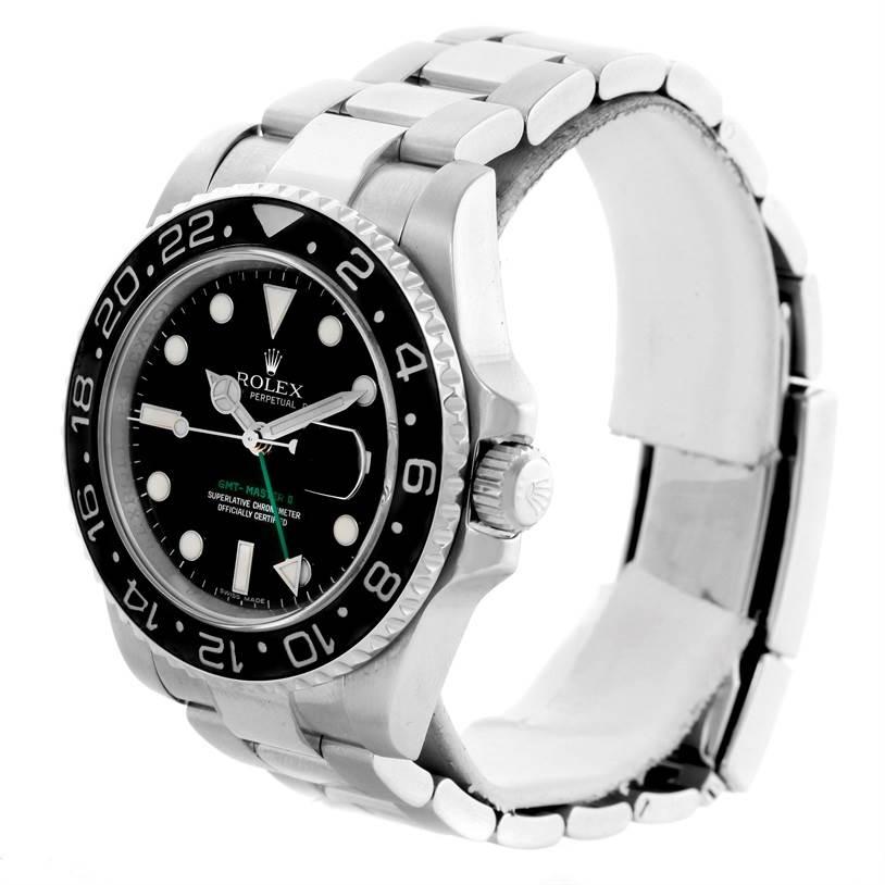 10770 Rolex GMT Master II Ceramic Bezel Mens Steel Watch 116710 Box Papers SwissWatchExpo