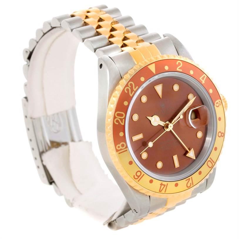 10910 Rolex GMT Master II Mens Rootbeer 18k Yellow Gold Steel Watch 16713 SwissWatchExpo