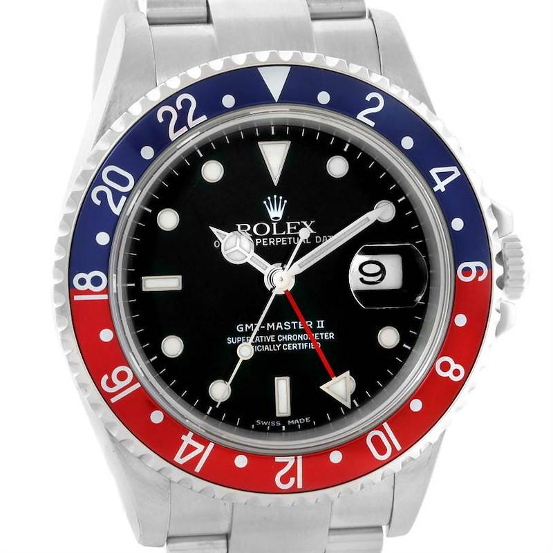 Rolex GMT Master II Pepsi Red Blue Bezel Mens Watch 16710 SwissWatchExpo