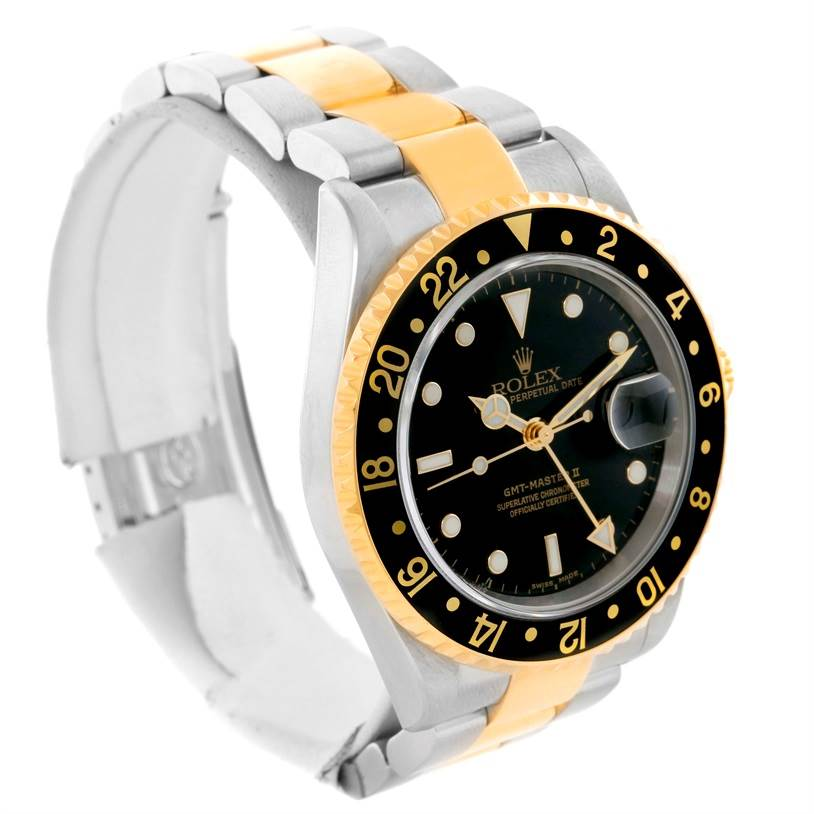 Rolex GMT Master II Mens 18k Yellow Gold Date Watch 16713 SwissWatchExpo