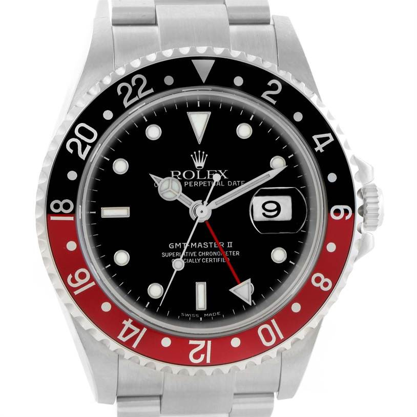 11421 Rolex GMT Master II Black Red Coke Bezel Steel Watch 16710 Unworn SwissWatchExpo