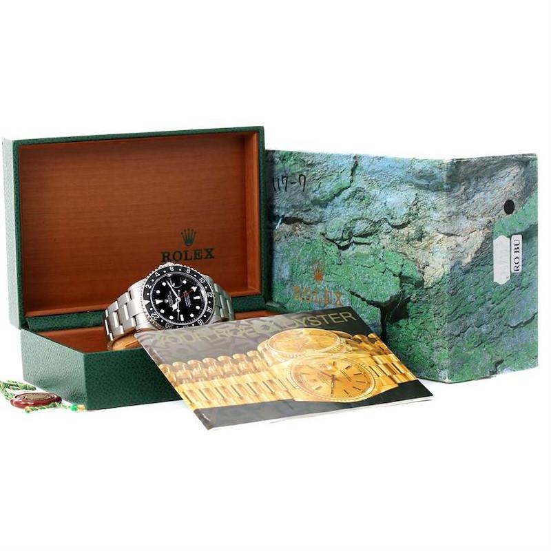 Rolex GMT Master II Black Bezel Mens Watch 16710 Year 2001 SwissWatchExpo