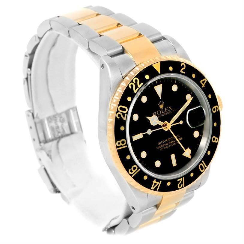rolex gmt master ii mens 18k yellow gold black dial watch. Black Bedroom Furniture Sets. Home Design Ideas