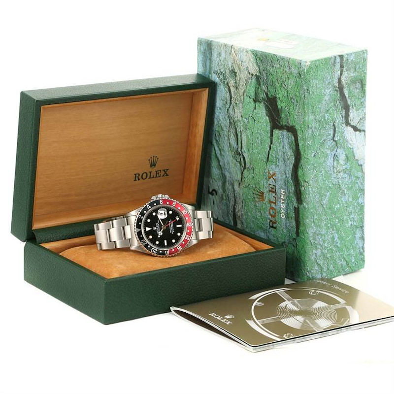 Rolex GMT Master II Black Red Coke Bezel Date Watch 16710 SwissWatchExpo