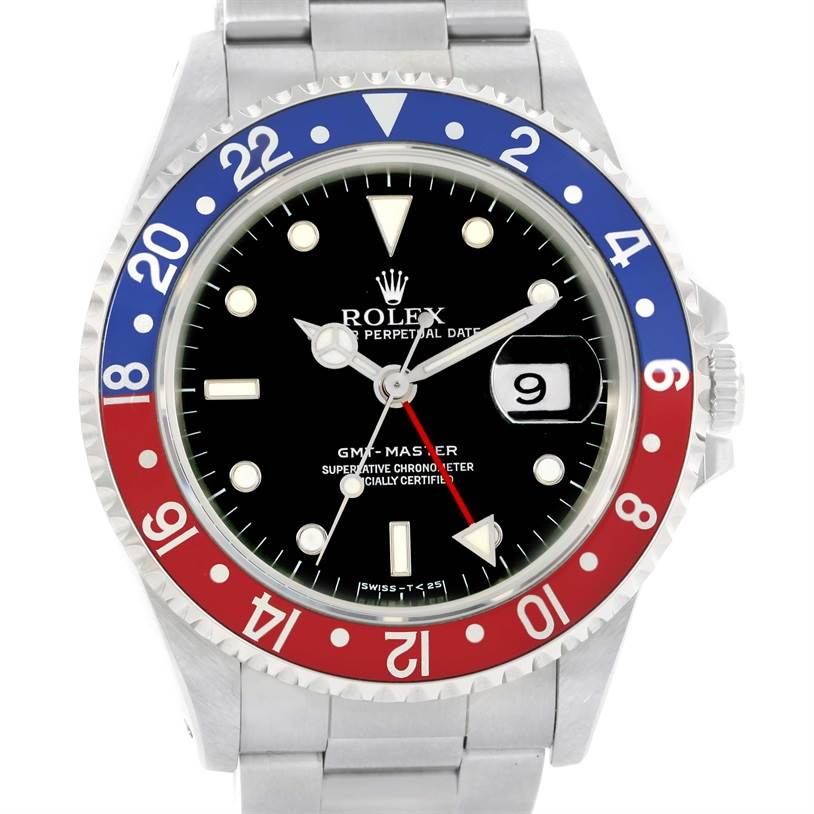 12454 Rolex GMT Master Blue Red Pepsi Bezel Mens Watch 16700 Unworn SwissWatchExpo