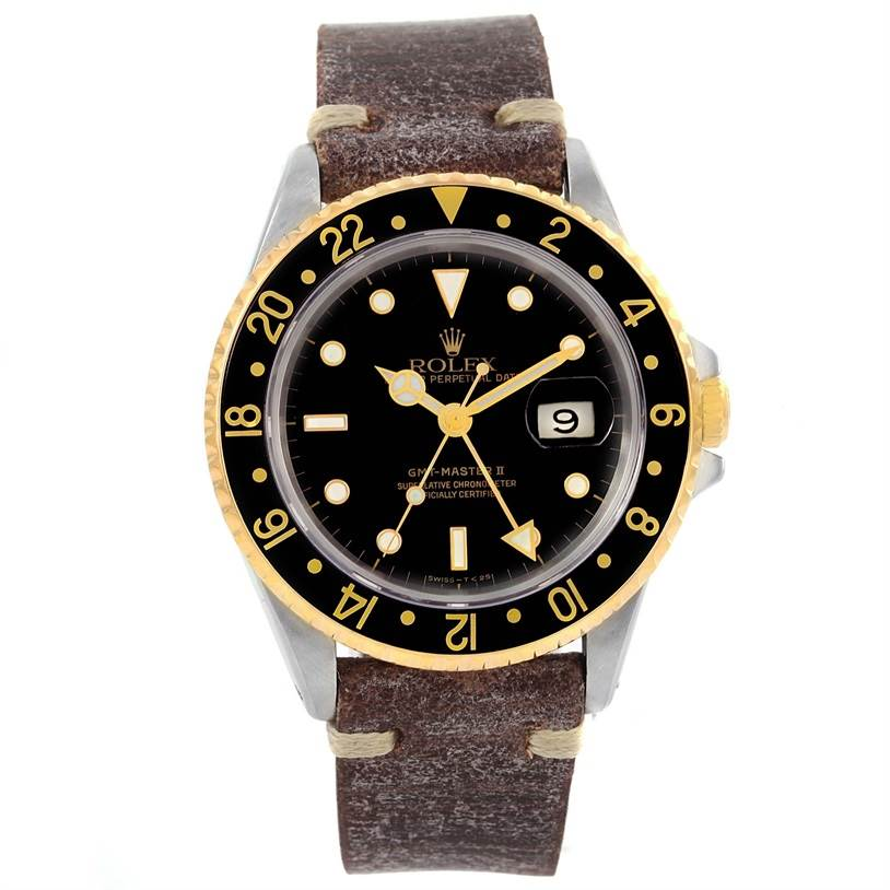 12374 Rolex GMT Master II Mens 18k Yellow Gold Steel Watch 16713 SwissWatchExpo
