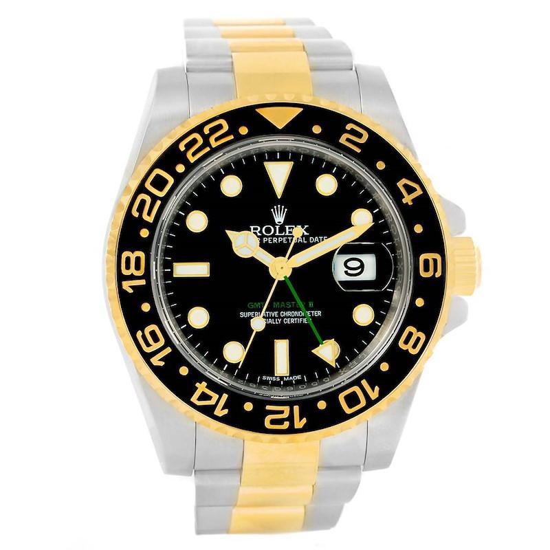 Rolex GMT Master II 18k Gold Steel Black Dial Mens Watch 116713 SwissWatchExpo