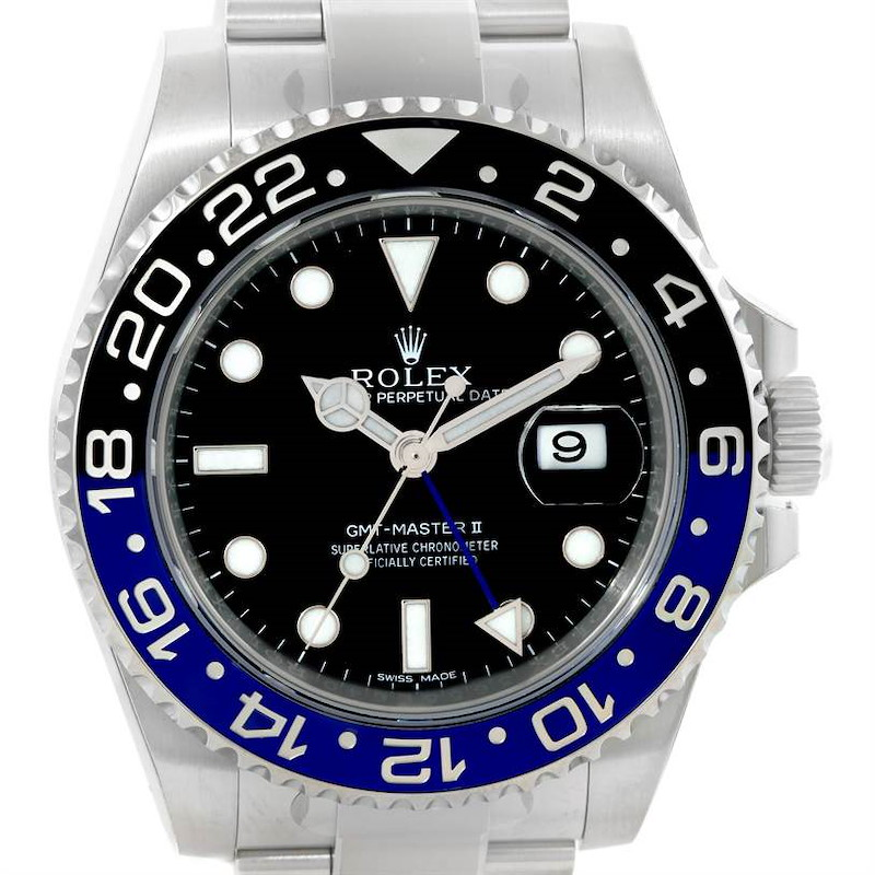 Rolex GMT Master II Batman Blue Black Ceramic Mens Watch 116710 Unworn SwissWatchExpo