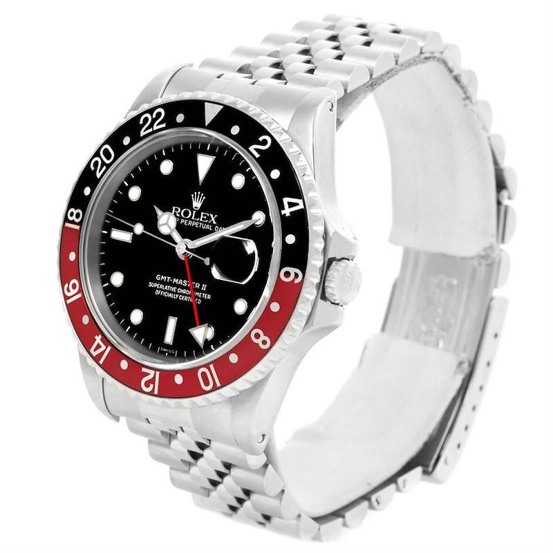 Rolex GMT Master II Black Red Coke Bezel Jubilee Bracelet Watch 16710 SwissWatchExpo