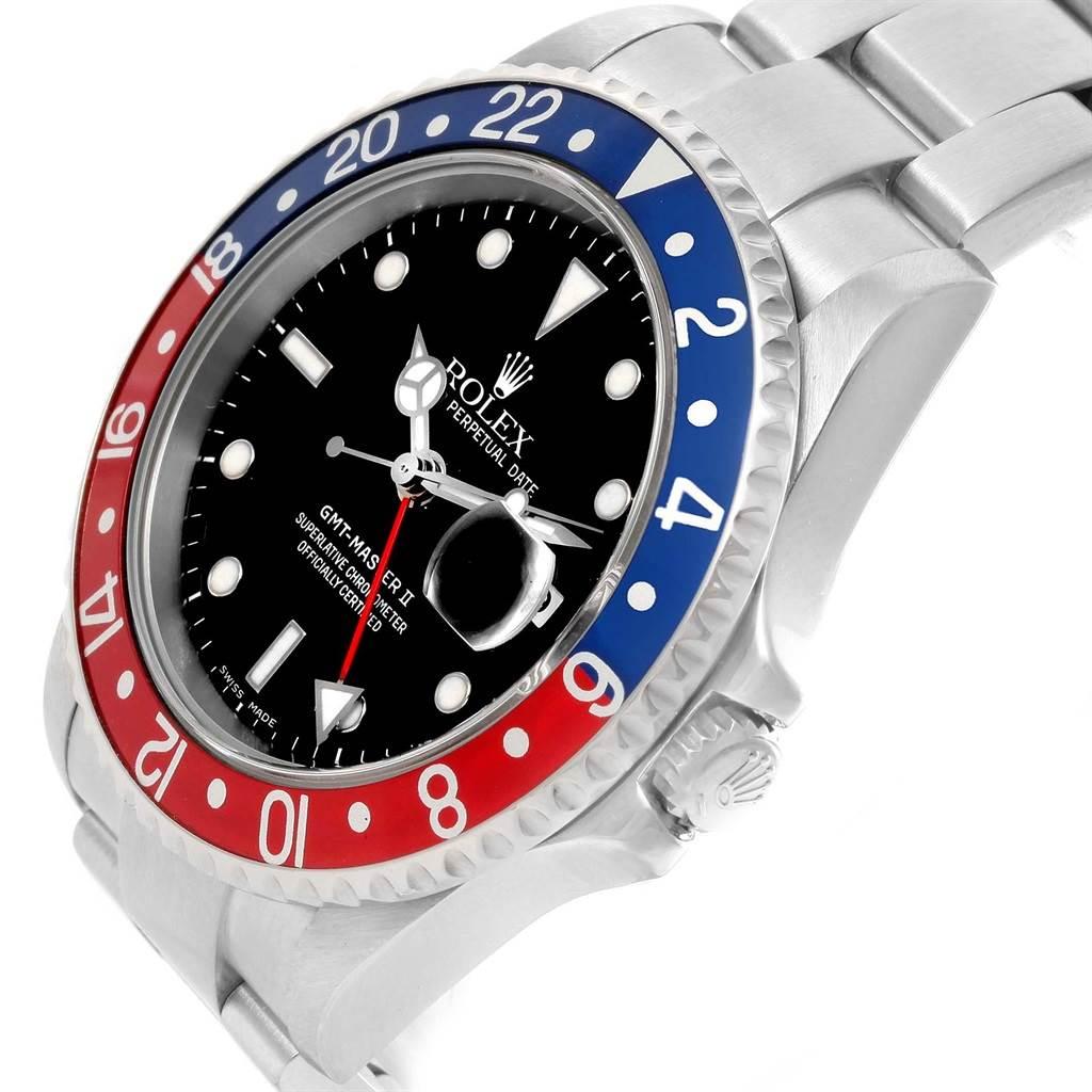 Rolex GMT Master Red Blue Pepsi Bezel Stainless Steel Mens Watch 16710 SwissWatchExpo