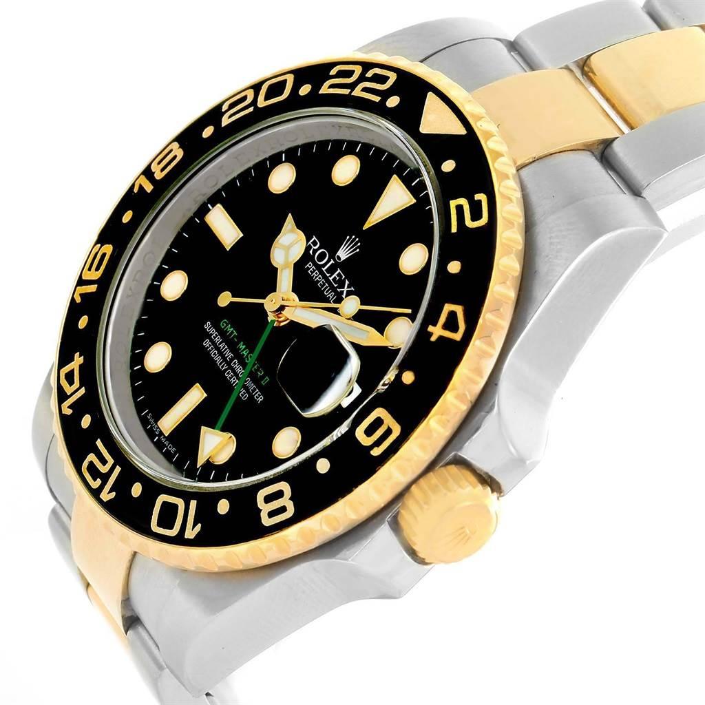 Rolex GMT Master II Yellow Gold Steel Black Dial Mens Watch 116713 SwissWatchExpo