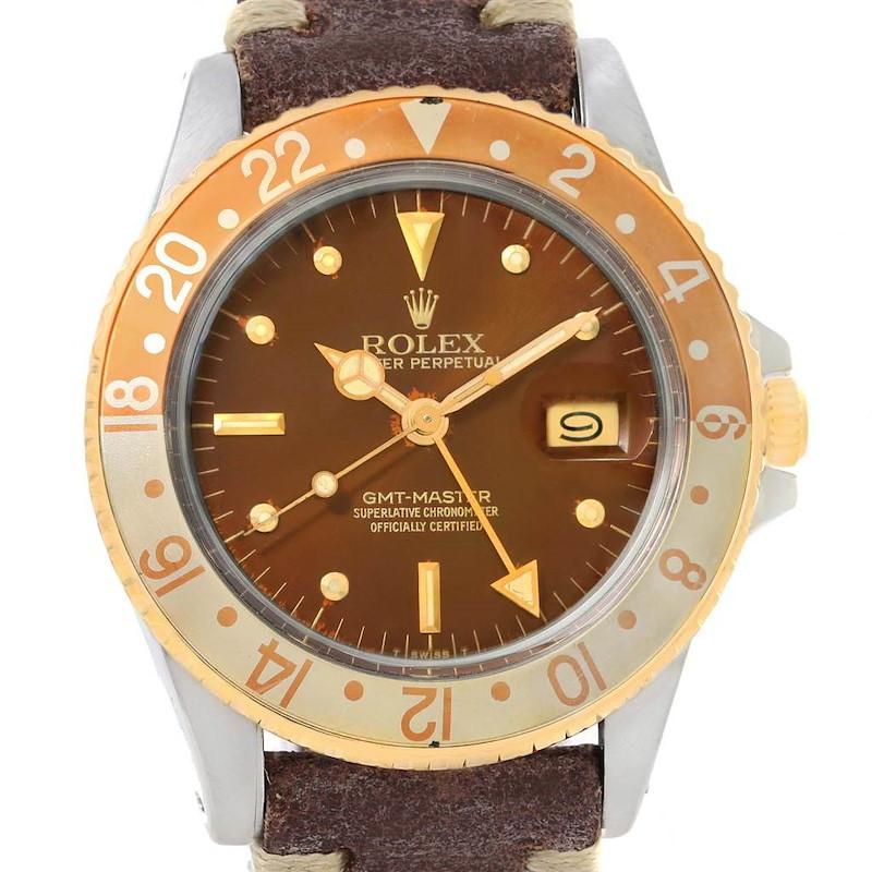 Rolex GMT Master Rootbeer Gold Steel Nipple Dial Vintage Watch 16753 SwissWatchExpo