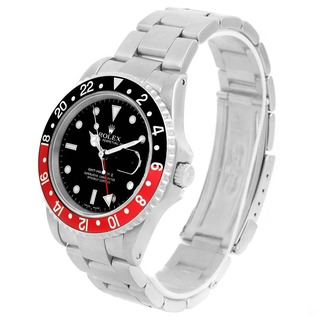 Rolex GMT Master II Black Red Coke Bezel Oyster Bracelet Watch 16710 SwissWatchExpo