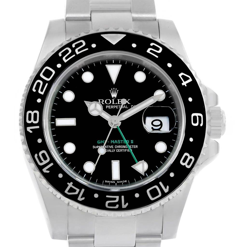 14207 Rolex GMT Master II Stainless Steel Ceramic Bezel Mens Watch 116710 SwissWatchExpo
