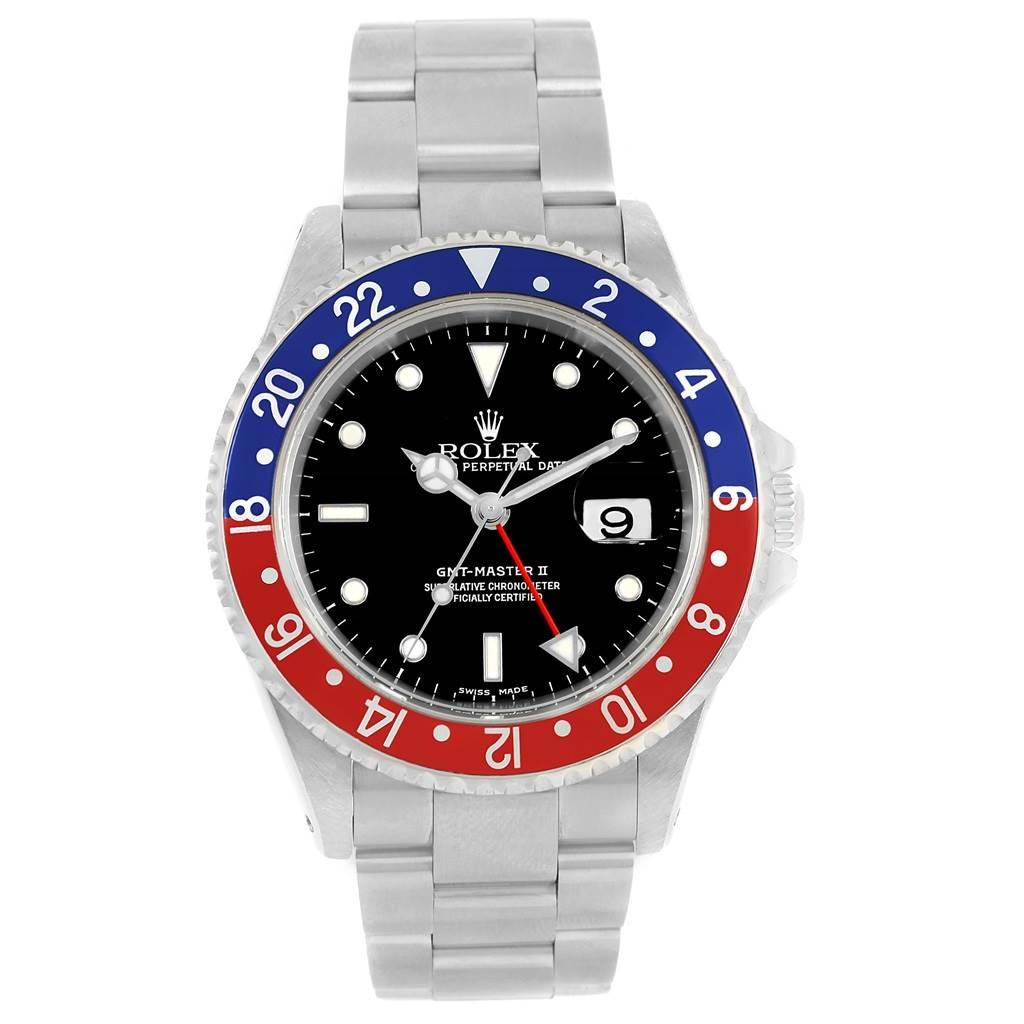 Rolex GMT Master II Blue Red Pepsi Steel Mens Watch 16710 Box Papers SwissWatchExpo