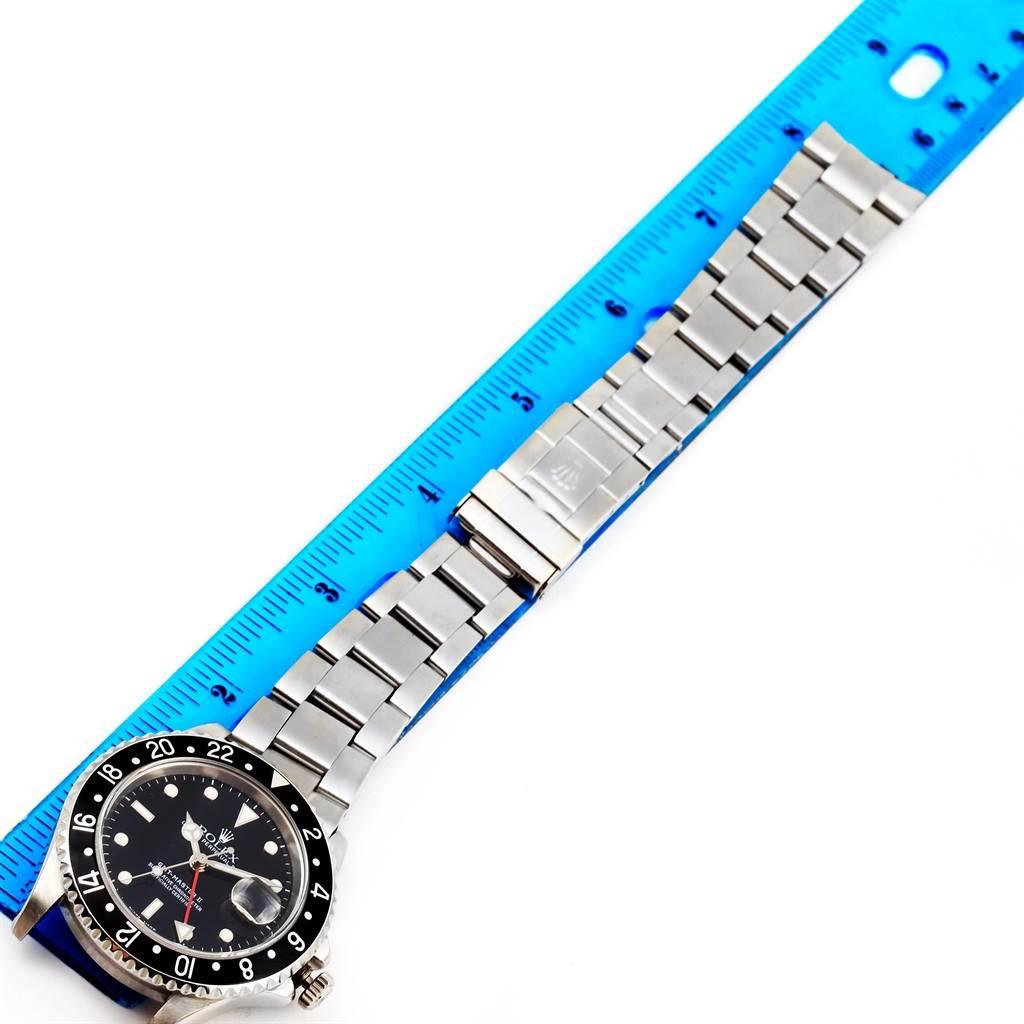 14236 Rolex GMT Master II Black Bezel Stainless Steel Mens Watch 16710 SwissWatchExpo