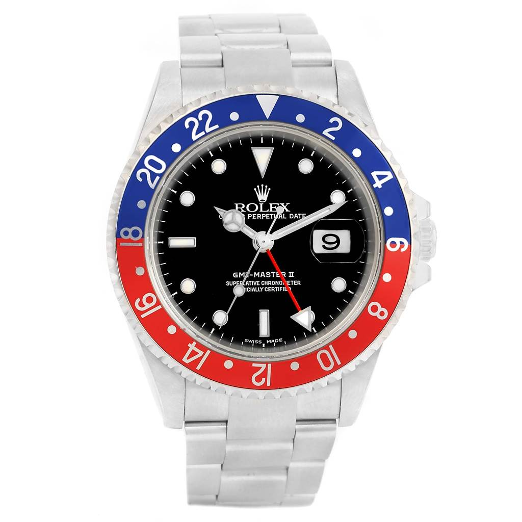 14291 Rolex GMT Master II Blue Red Pepsi Bezel Steel Mens Watch 16710 SwissWatchExpo