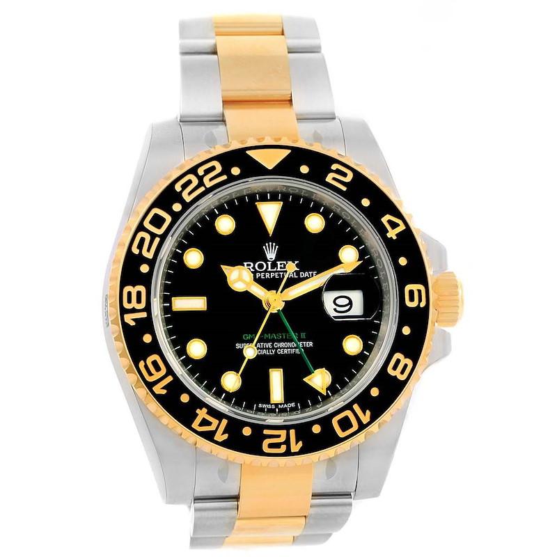 Rolex GMT Master II Yellow Gold Steel Black Dial Watch 116713 Unworn SwissWatchExpo