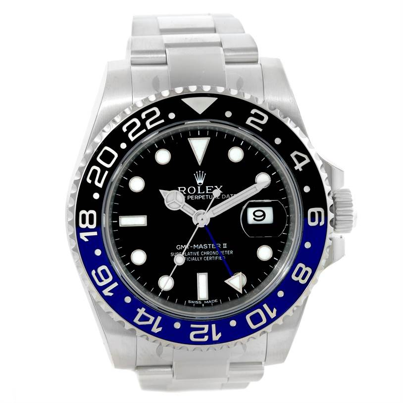 14755 Rolex GMT Master II Batman Blue Black Ceramic Mens Watch 116710 Unworn SwissWatchExpo