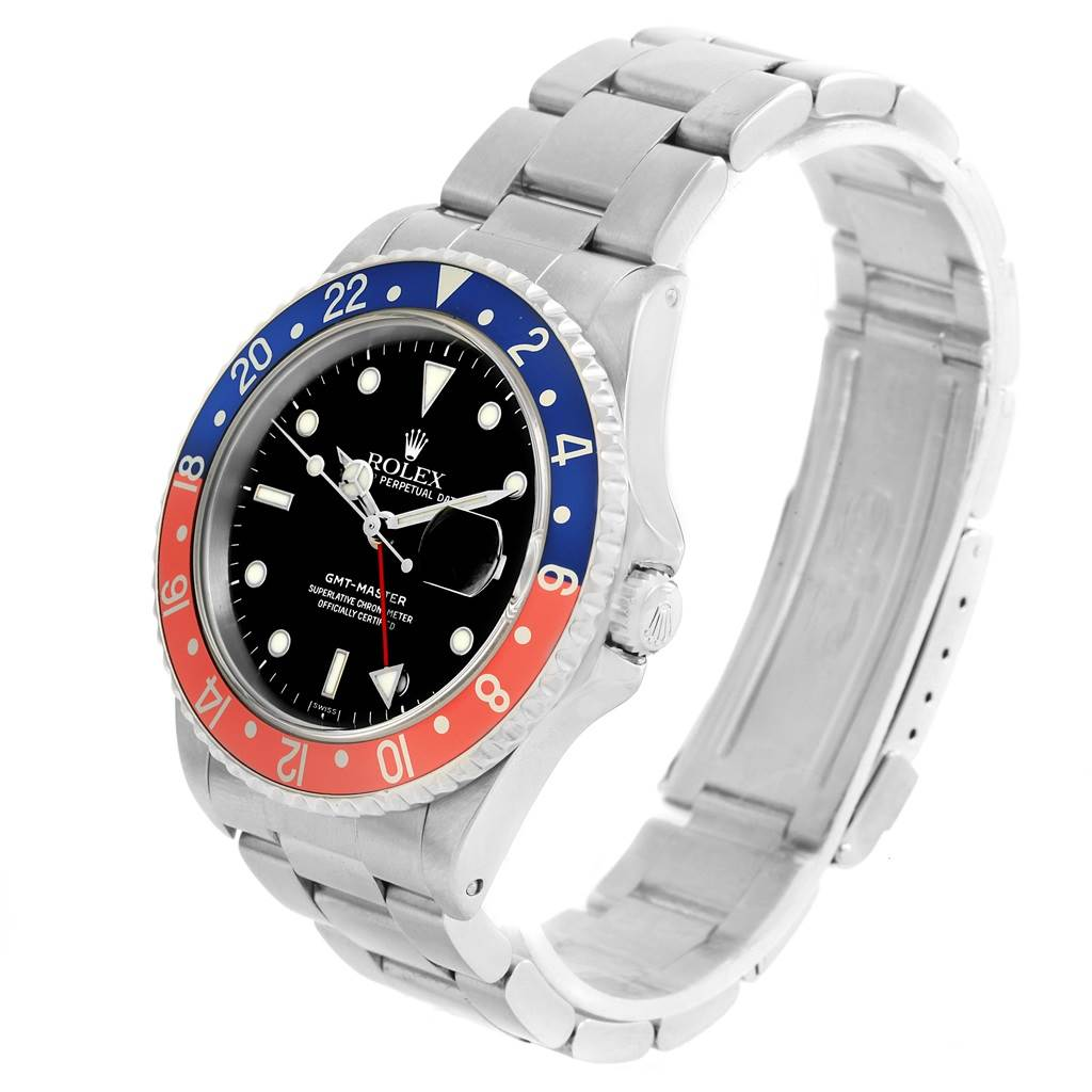 Rolex GMT Master Blue Red Pepsi Bezel Steel Automatic Watch 16700 SwissWatchExpo