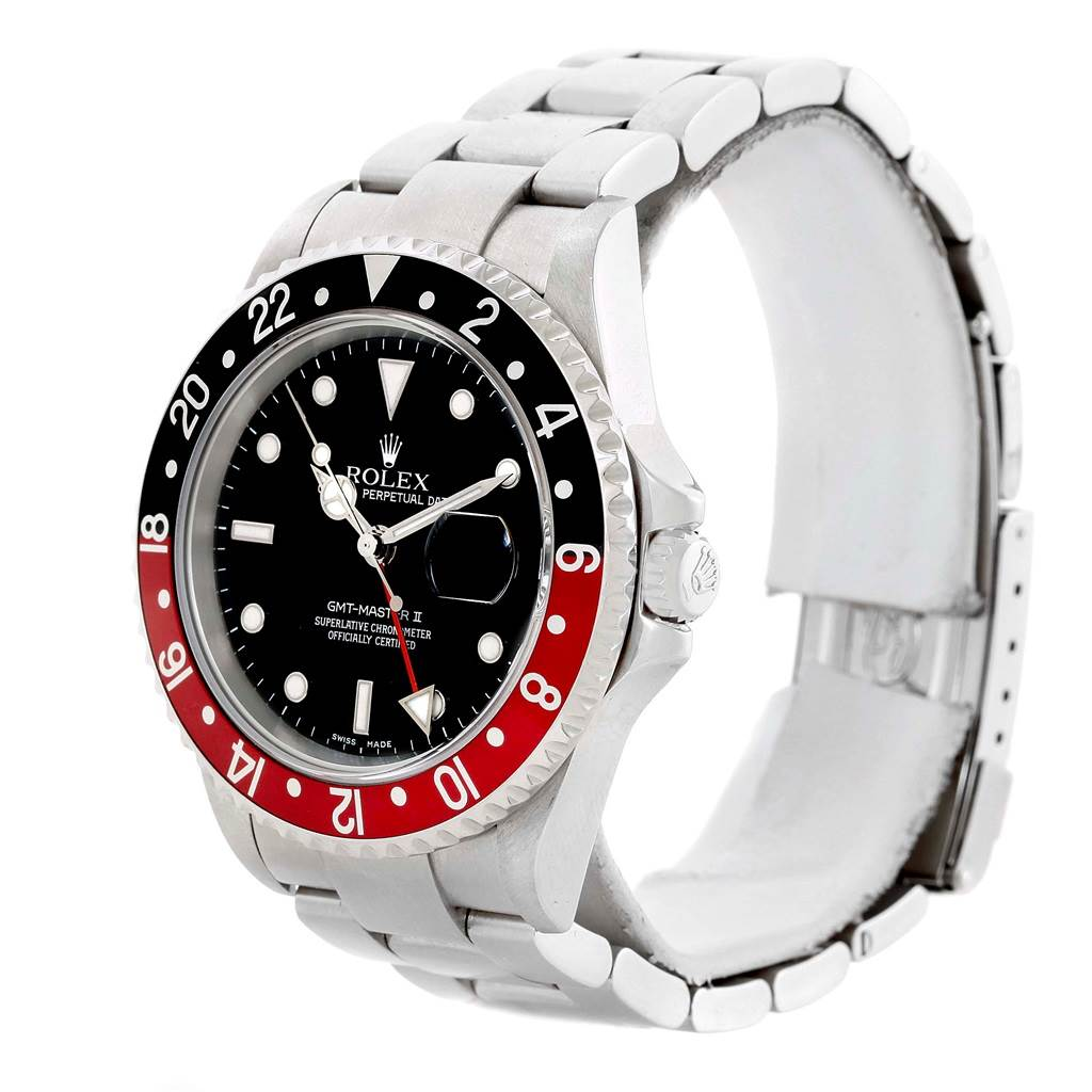 14558 Rolex GMT Master II Black Red Coke Steel Mens Watch 16710 SwissWatchExpo