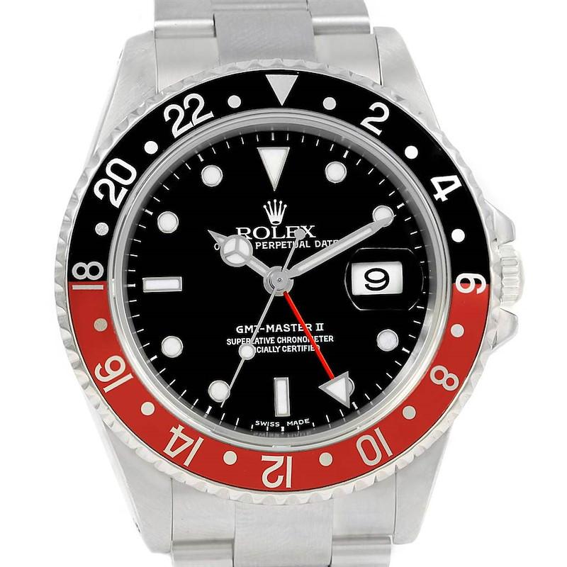 Rolex GMT Master II Black Red Coke Steel 40mm Watch 16710 Box SwissWatchExpo