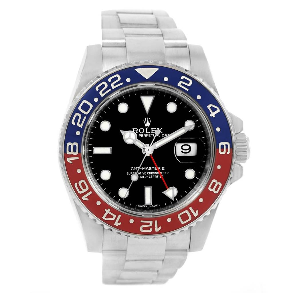 Rolex GMT Master II 18K White Gold Pepsi Bezel Mens Watch 116719 SwissWatchExpo