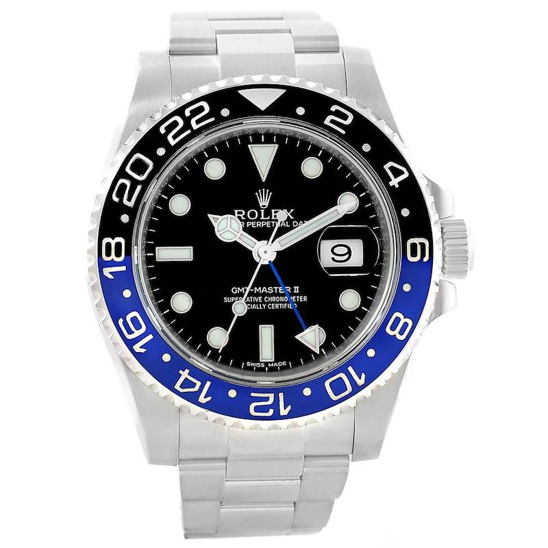 Rolex GMT Master II Batman Blue Black Ceramic Bezel Steel Watch 116710 SwissWatchExpo
