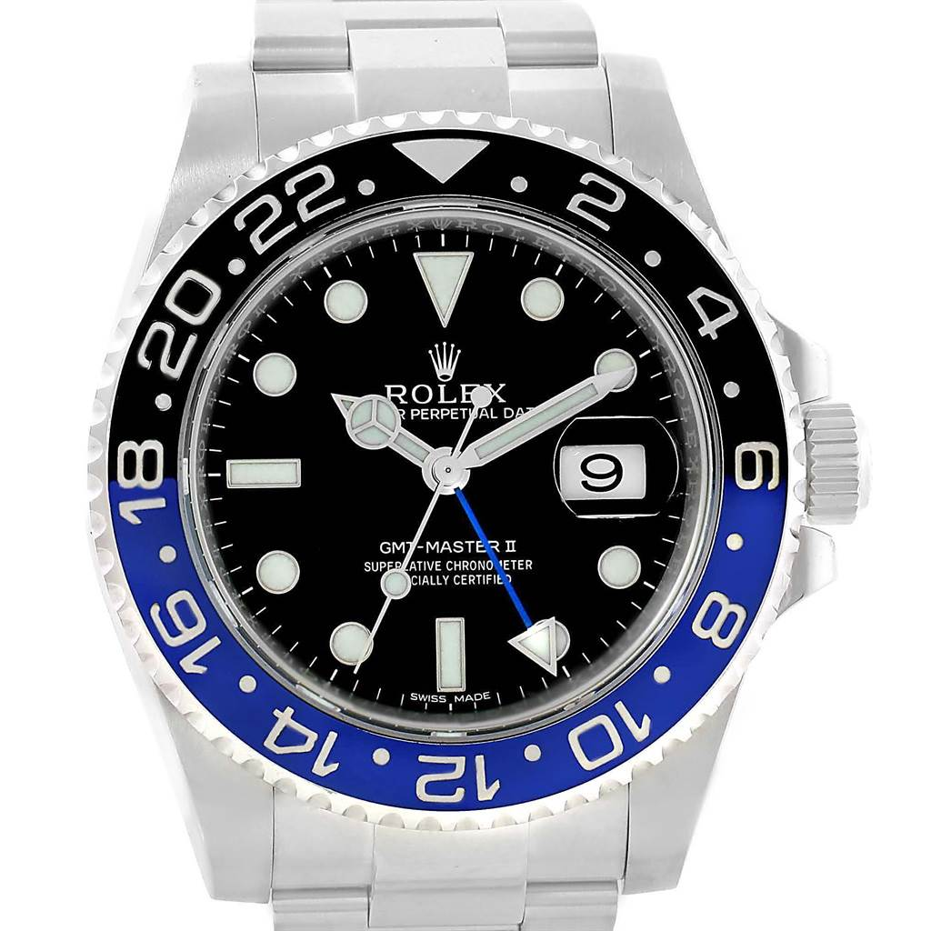 13528ET Rolex GMT Master II Batman Blue Black Ceramic Bezel Steel Watch 116710 SwissWatchExpo