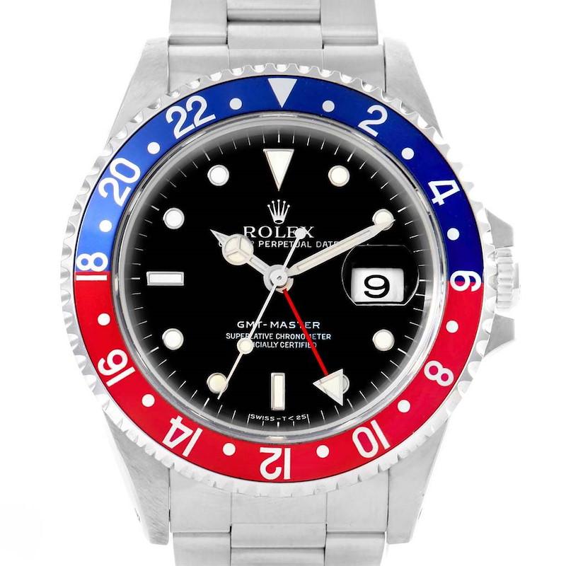 Rolex GMT Master Red Blue Pepsi Bezel Stainless Steel Mens Watch 16700 SwissWatchExpo