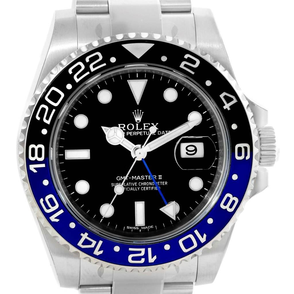 147f8e464ab ... 14968 Rolex GMT Master II Batman Blue Black Ceramic Mens Watch 116710  Unworn SwissWatchExpo ...
