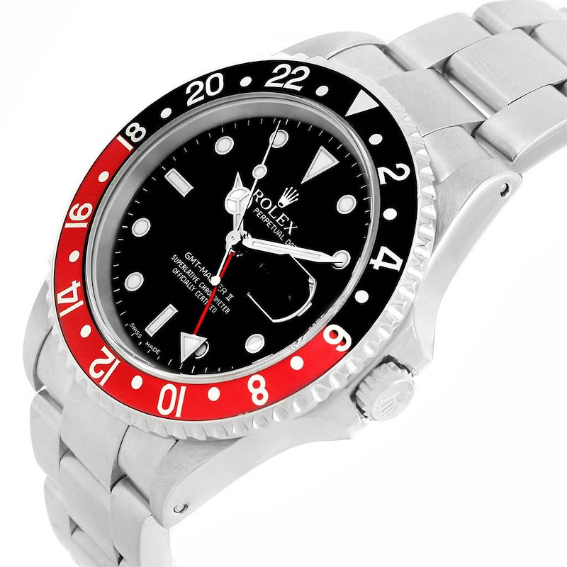 Rolex GMT Master II Black Red Coke Bezel Automatic Watch 16710 Box SwissWatchExpo