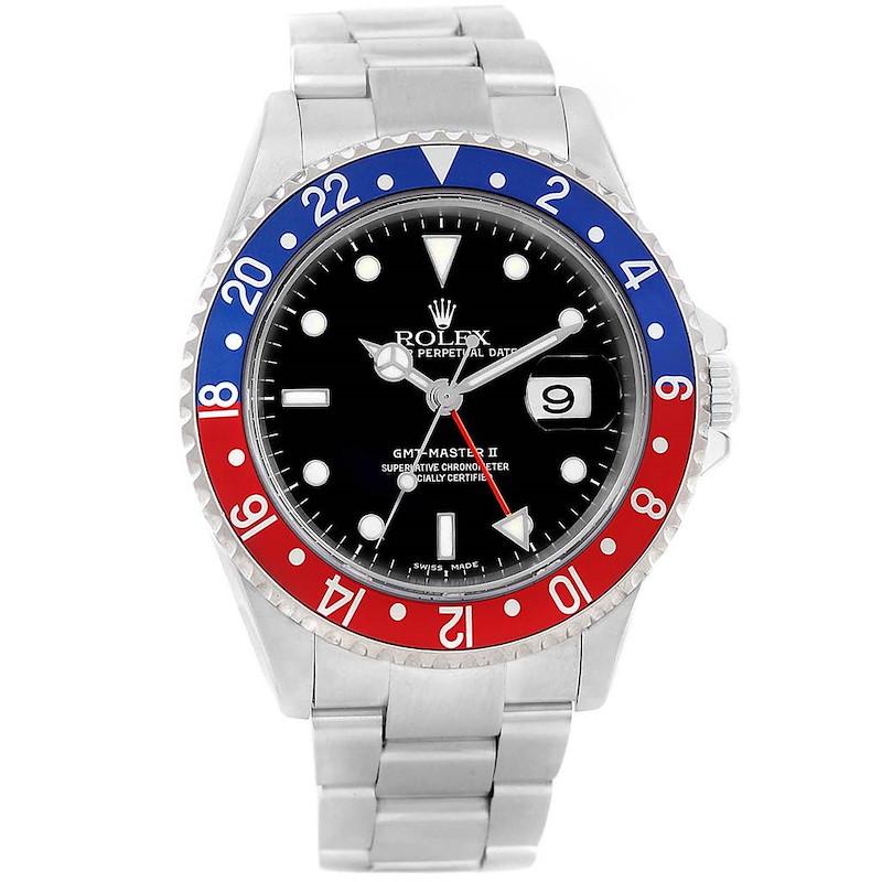 Rolex GMT Master II Pepsi Bezel Stainless Steel Mens Watch 16710 SwissWatchExpo