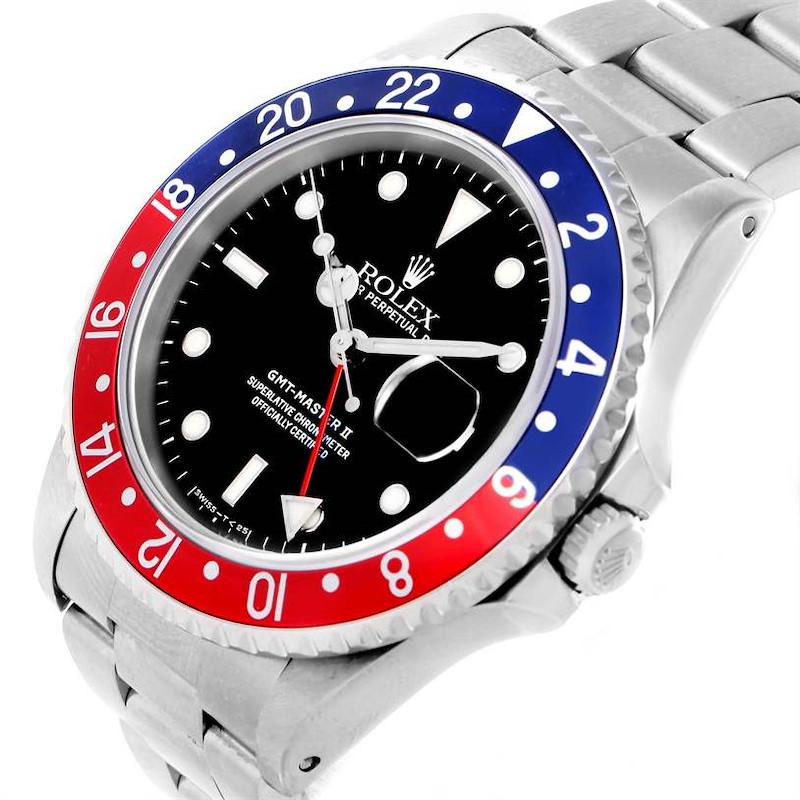 Rolex GMT Master II Blue Red Pepsi Bezel Date Watch 16710 SwissWatchExpo