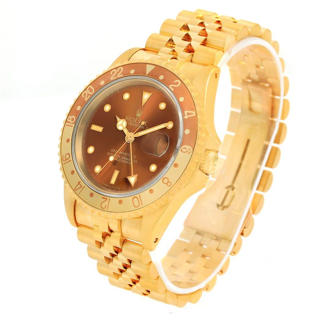 Rolex GMT Master Rootbeer 18K Yellow Gold Dial Mens Watch 16718 SwissWatchExpo
