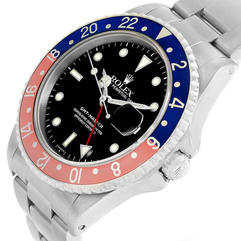 Rolex GMT Master Red Blue Pepsi Bezel 40mm Steel Mens Watch 16700 SwissWatchExpo