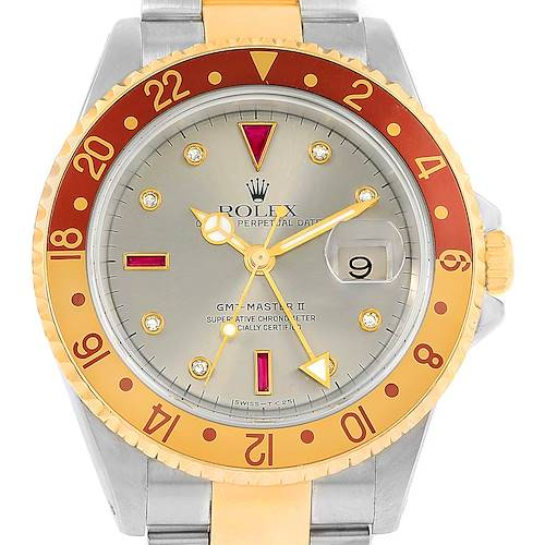 Photo of Rolex GMT Master II Mens Rootbeer Serti Yellow Gold Steel Watch 16713