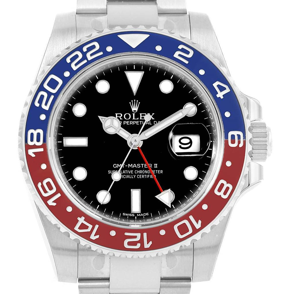 Rolex GMT Master II 18K White Gold Pepsi Bezel Mens Watch 116719 Unworn SwissWatchExpo