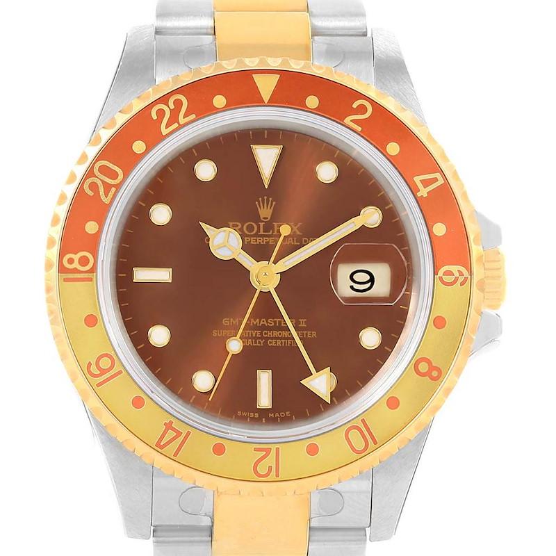 Rolex GMT Master II Rootbeer Yellow Gold Steel Mens Watch 16713 Unworn SwissWatchExpo