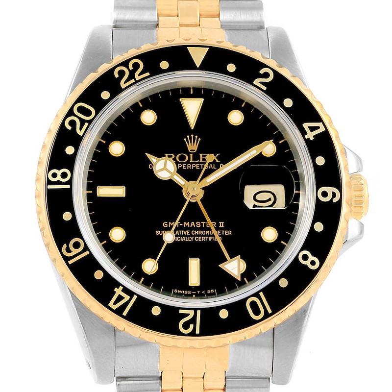 Rolex GMT Master II Yellow Gold Steel Jubilee Bracelet Watch 16713 SwissWatchExpo
