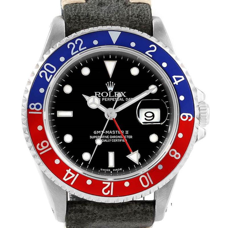 Rolex GMT Master II Pepsi Bezel Grey Strap Steel Mens Watch 16710 SwissWatchExpo