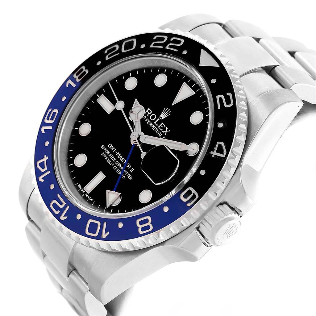 Rolex GMT Master II Batman Blue Black Bezel Mens Watch 116710 SwissWatchExpo
