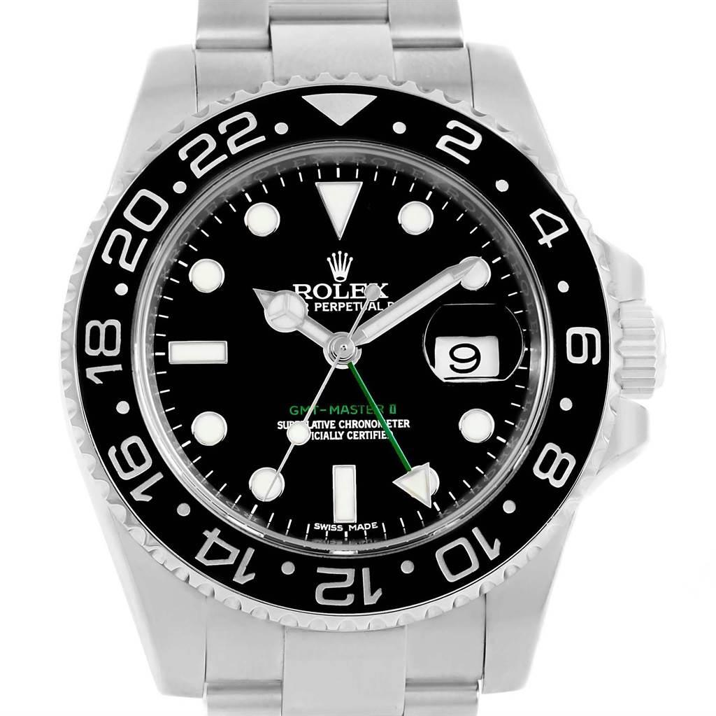 Rolex GMT Master II Dual Zone Ceramic Bezel Steel Mens Watch 116710 SwissWatchExpo
