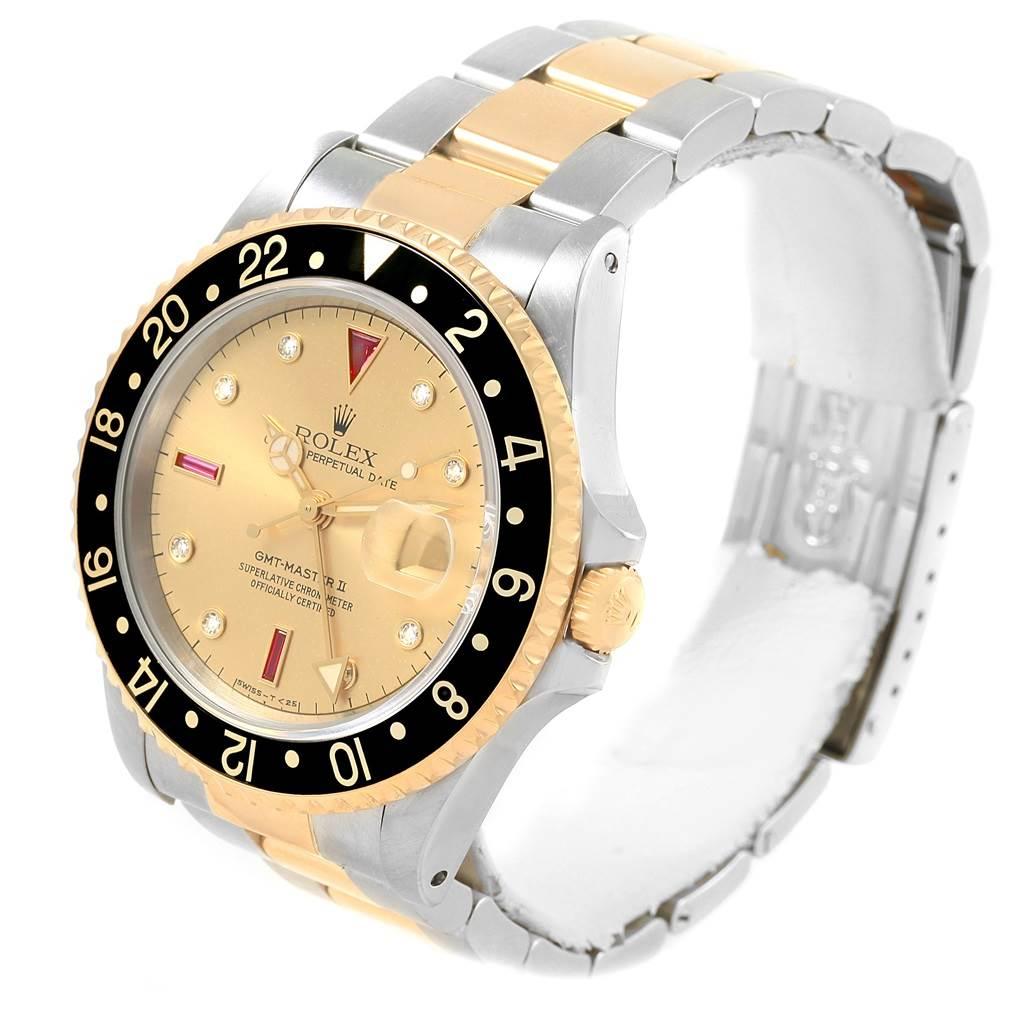 Rolex GMT-Master II Yellow Gold Steel Diamond Ruby Serti Dial Watch 16713 SwissWatchExpo