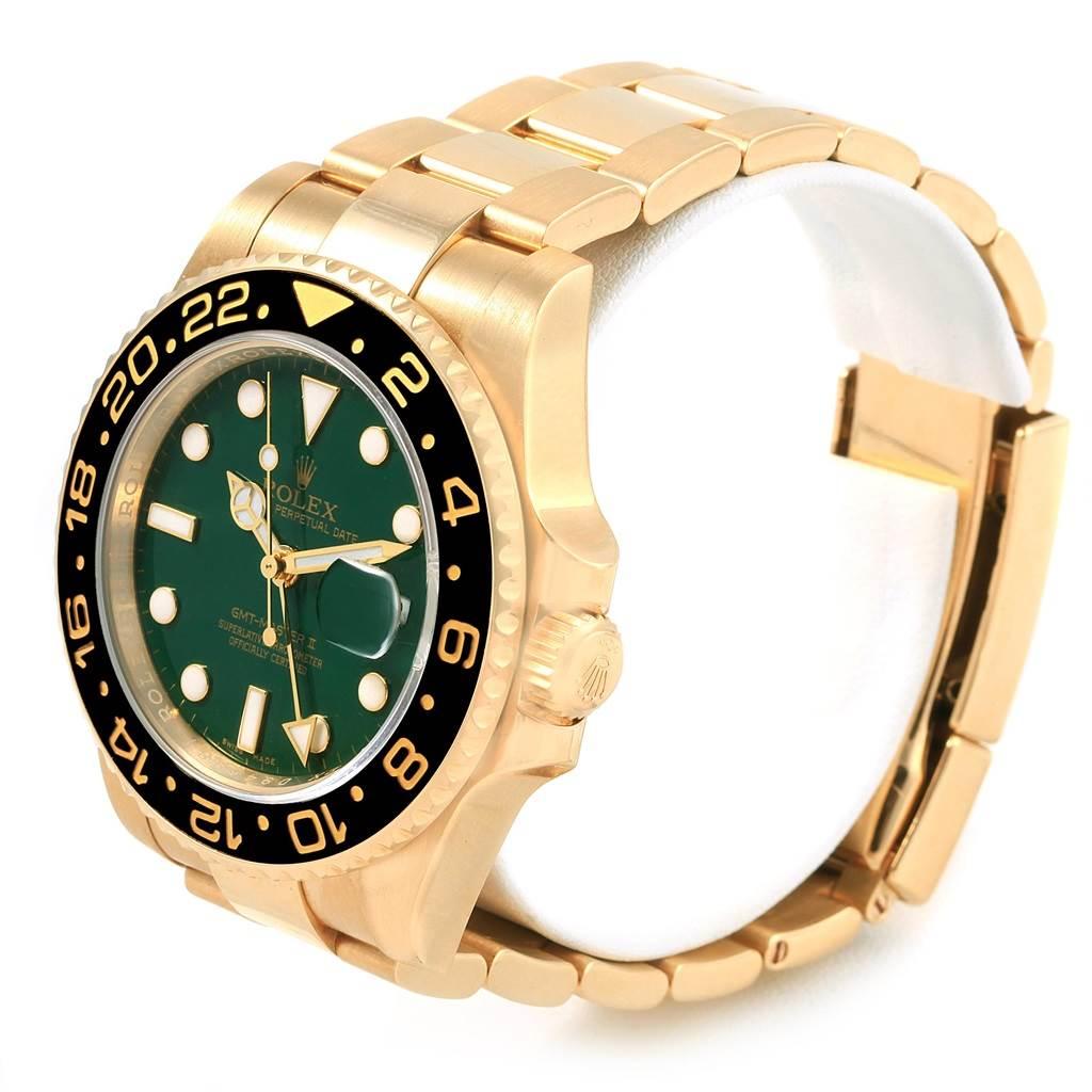 Rolex GMT Master II Yellow Gold Green Dial Mens Watch 116718 SwissWatchExpo