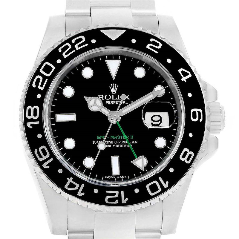 Rolex GMT Master II Ceramic Bezel Steel Mens Watch 116710 Box Card SwissWatchExpo