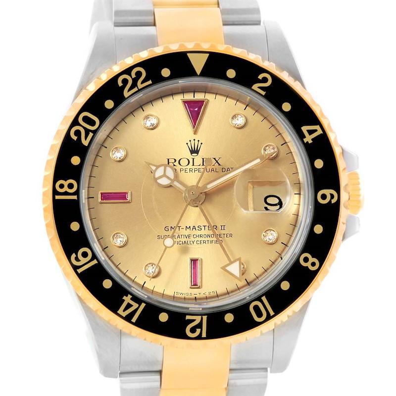 Rolex GMT Master II Mens Yellow Gold Steel Watch Serti Dial 16713 Box Papers SwissWatchExpo