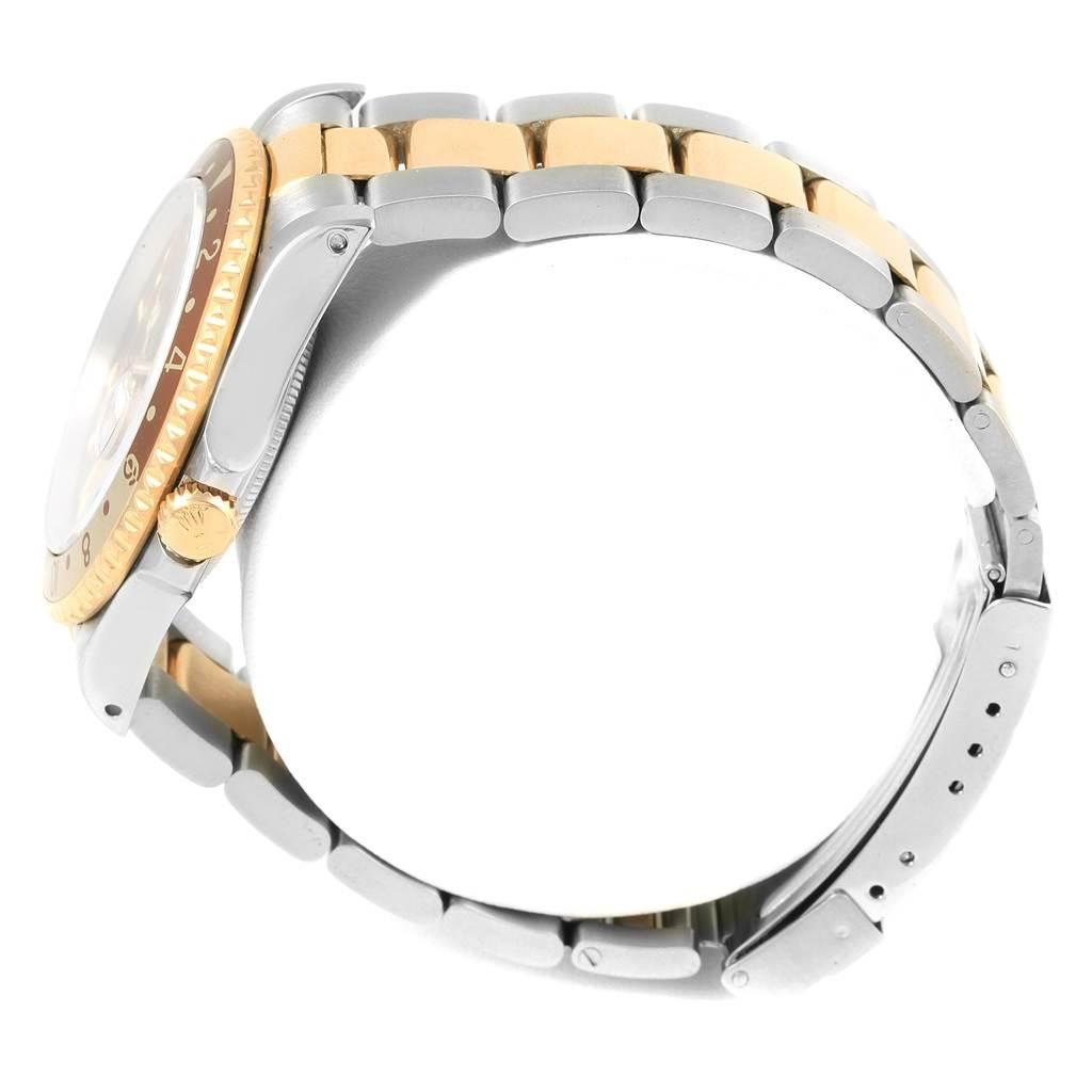 17752 Rolex GMT Master II Rootbeer Yellow Gold Steel Mens Watch 16713 SwissWatchExpo