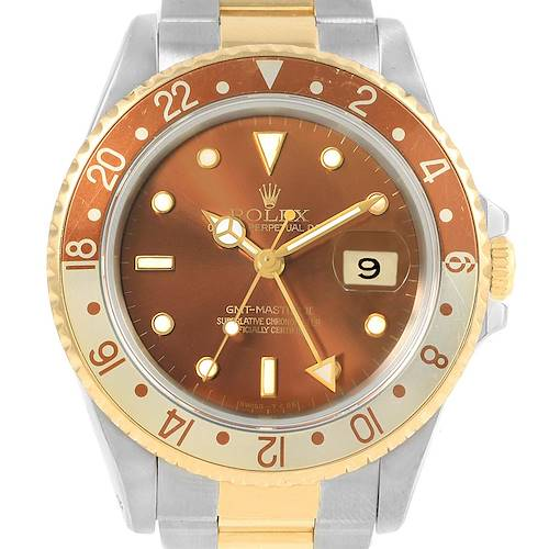 Photo of Rolex GMT Master II Rootbeer Yellow Gold Steel Mens Watch 16713