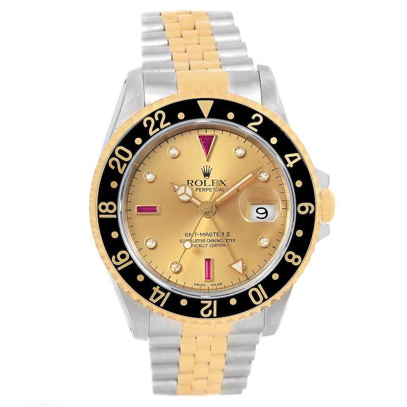 Rolex GMT Master II Yellow Gold Steel Serti Diamond Ruby Watch 16713 Box Papers SwissWatchExpo